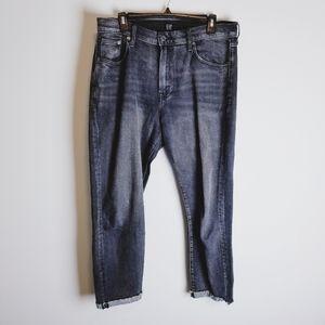 Gap black distressed girlfriend jeans cuff raw hem